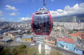 A metro cable funicular made during the government of Venezuelan President Hugo Chavez is seen on the sector of San Agustin in Caracas on January 4...