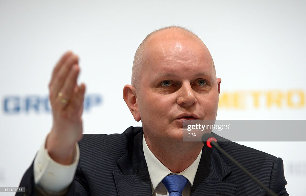 Metro CEO and Chairman of the management board, Olaf Koch, attends the financial statement press conference of the retail and wholesale/cash and carry group Metro in Duesseldorf, Germany, on March 20, 2013. Metro stated, that its net profit in 2012 declined sharply by almost 90 percent to just 101 million euros.