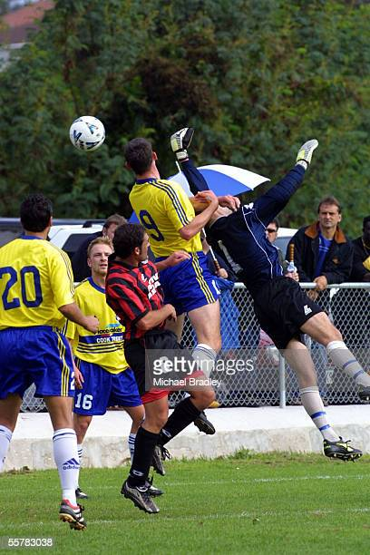 Metro FC keeper Darian Setters is unable to secure the ball when challanged by Cental United's Daniel Koprivcic in their clash in the Qantas New...