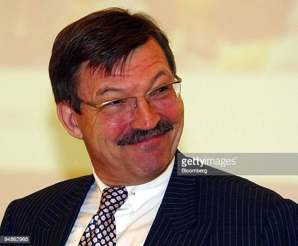 Metro Group CEO HansJoachim Koerber smiles during a news conference in Duesseldorf Germany on Wednesday March 24 2004 Metro Group Europe's...