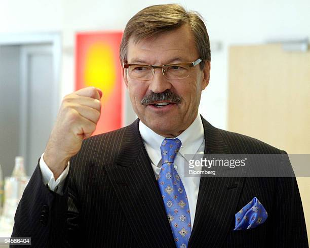 Metro Group Chief Executive Officer HansJoachim Koerber gestures prior to a press conference in Dusseldorf Germany Wednesday March 21 2007 Metro AG...