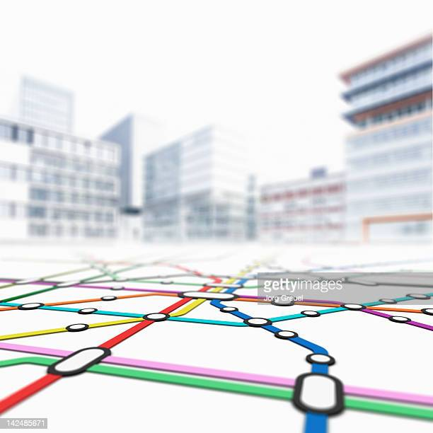 Metro map and cityscape