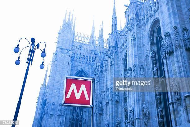 Metro sign at the Piazza del Duomo in Milan, Italy