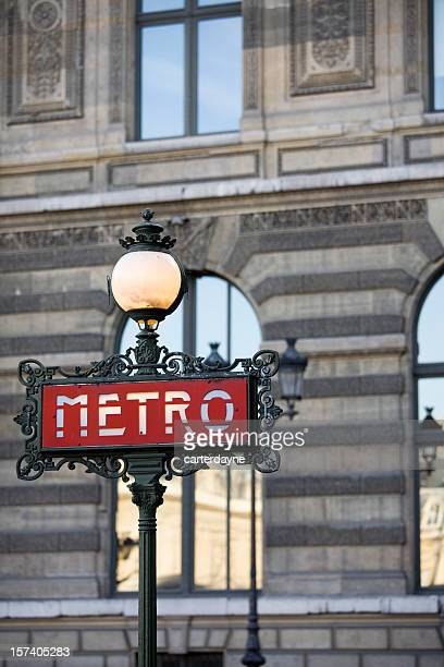 Metro sign for the subway in Paris, France