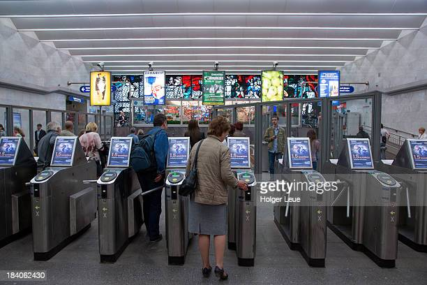 Metro station entry turnstiles