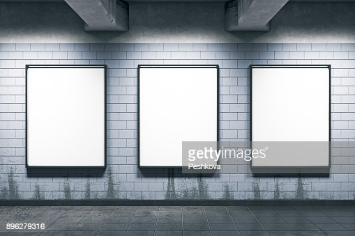 Metro station with empty posters : Stock Photo