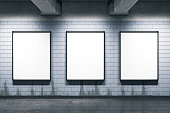 Grunge metro or subway station with empty posters wall. Mock up, 3D Rendering
