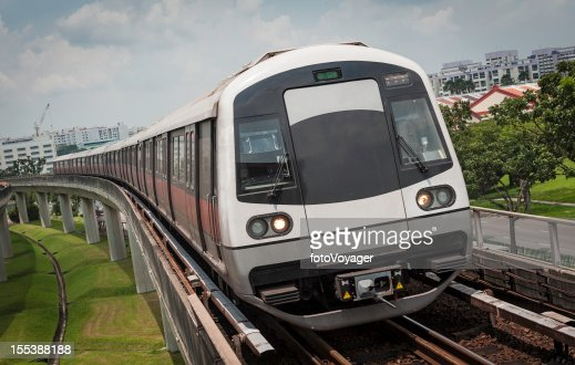 Metro subway train on elevated rails Singapore