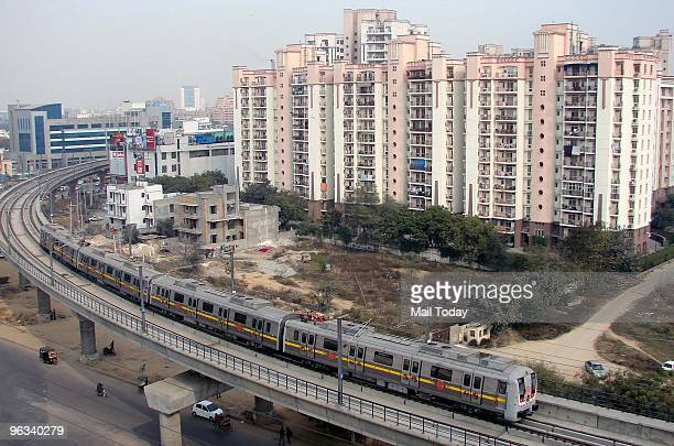A metro train can be seen during a trial run on an elevated section in Gurgaon around 30 km from New Delhi on Friday January 29 2010