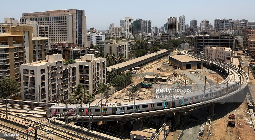 Metro train during a trial run on 3km long Varsova-Azadnagar track on the occasion of Maharashtra Day on May 1, 2013 in Mumbai, India. Maharashtra's first Metro from Versova to Airport Road in Mumbai will be commissioned in September.