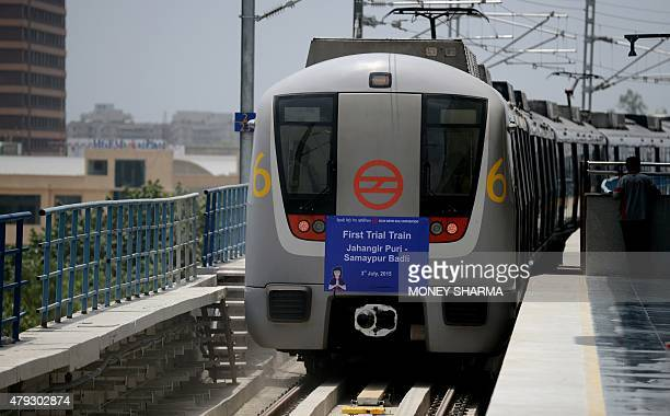 A metro train leaves Samaypur Badli station during a trial run of a new route between Jahangirpuri and Samaypur Badli in New Delhi on July 3 2015...