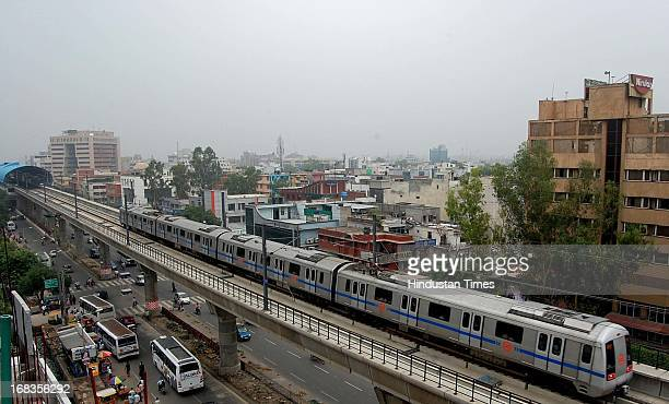 Metro train view from sector 15 on October 25 2010 in Noida India