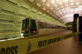 Metro Transit Officials investigate an accident at the Union Station subway platform