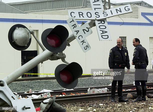 A metrolink train slammed into a big rig at the Cerritos street crossing in Anaheim today killing the man driving the truck He was apparently makin a...