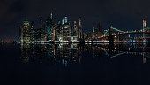 New York City skyline at night with reflection over the water