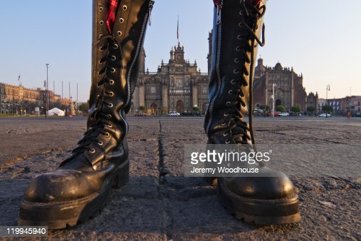 Metropolitan Cathedral through punk rocker's legs : Stock Photo
