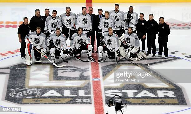 Metropolitan Division players and coaches pose on the ice prior to the 2017 Honda NHL AllStar Game at Staples Center on January 29 2017 in Los...
