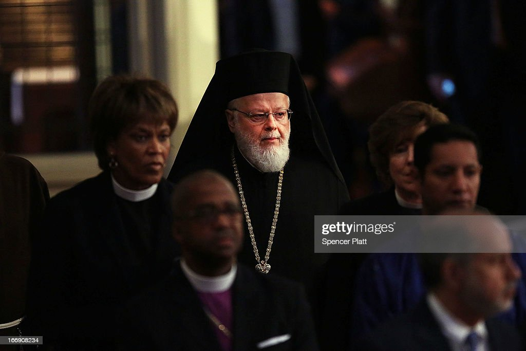 Metropolitan Methodios, the hierarch of the Greek Orthodox church in Boston, enters an interfaith prayer service for victims of the Boston Marathon attack titled 'Healing Our City,' at the Cathedral of the Holy Cross on April 18, 2013 in Boston, Massachusetts. Authorities investigating the attack on the Boston Marathon have shifted their focus to locating the person who placed a black bag down and walked away just before the bombs went off. The twin bombings at the 116-year-old Boston race, which occurred near the marathon finish line, resulted in the deaths of three people and more than 170 others injured.