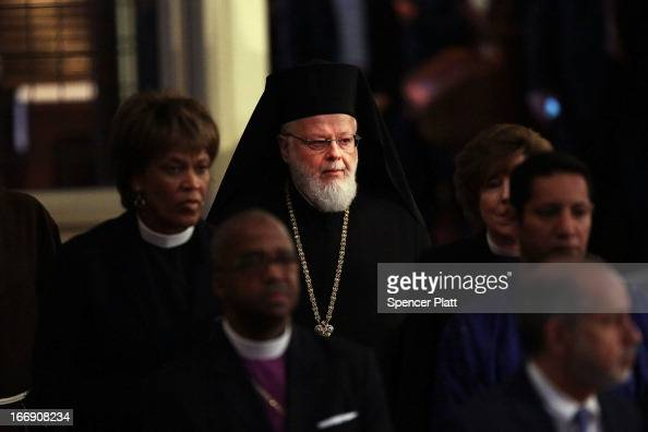 Metropolitan Methodios the hierarch of the Greek Orthodox church in Boston enters an interfaith prayer service for victims of the Boston Marathon...