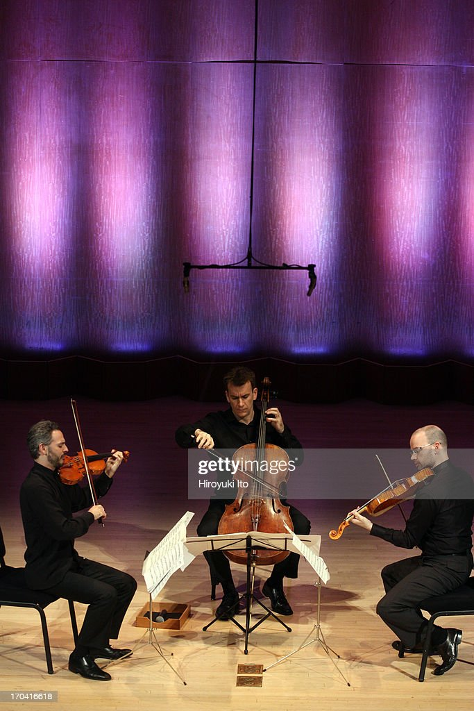 Metropolitan Museum Artists in Concert performing their final concert after 10 years of artist-in-residence at the Metropolitan Museum of Art on Friday night, June 7, 2013.This image:From left, Colin Jacobsen. Edward Arron and Nicholas Cords performing J.S. Bach's 'Goldberg Variations.'