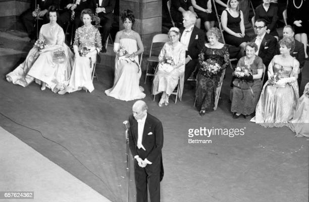 Metropolitan Opera General Manager Rudolf Bing speaks to the capacity dressed audience which filled the Company's home for the last time as more than...