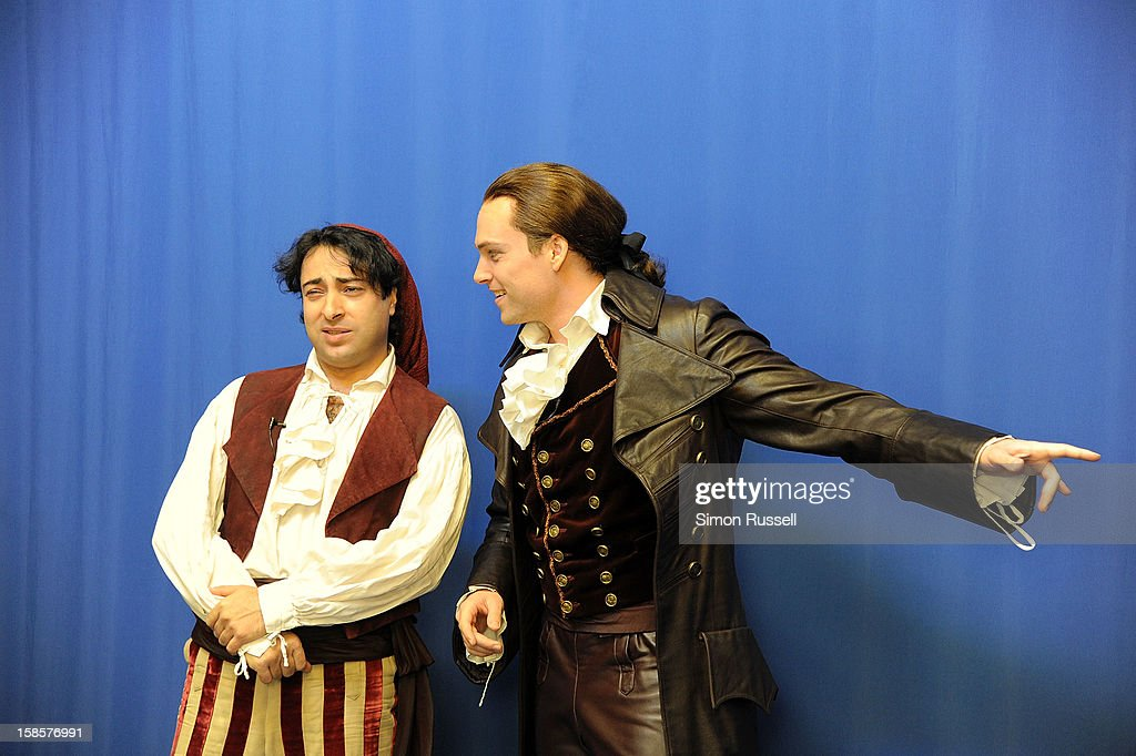 Metropolitan Opera stars Rodion Pogossov and Alek Shrader perform 'The Barber Of Seville' at the Kravis Children's Hospital at Mount Sinai Medical Center on December 19, 2012 in New York City.