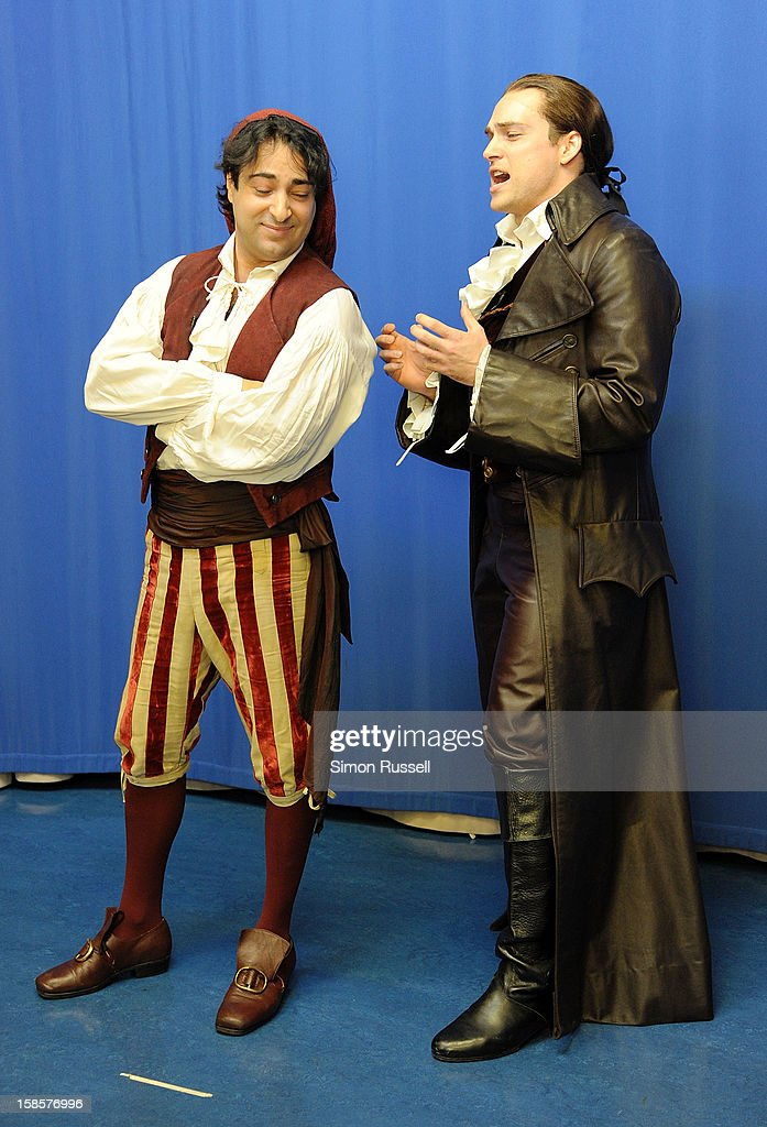 Metropolitan Opera stars Rodion Pogossov and Alek Shrader perform 'The Barber Of Seville' at the Kravis Children's Hospital at Mount Sinai Medical Center on December 19, 2012 in New York City.