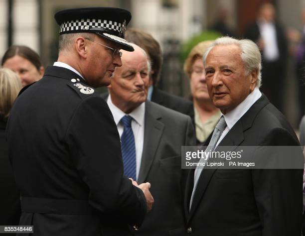 Metropolitan Police Chief Commissioner Sir Paul Stephenson and founder of the Police Memorial Trust Michael Winner at a memorial service in St...