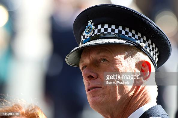 Metropolitan Police Commissioner Bernard HoganHowe greets mounted Police Officers ahead of the national police memorial day service at St Paul's...