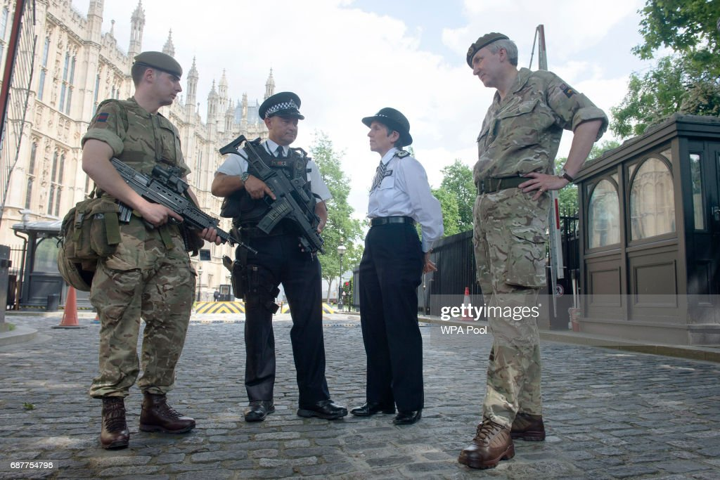 Metropolitan Police Commissioner Cressida Dick and Major General Ben Bathhurst, General Officer Commanding London District (right) meet soldiers and police officers on deployment in the Palace of Westminster on May 24, 2017 in London, England. Scotland Yard announced armed troops will be deployed to guard 'key locations' such as Buckingham Palace, Downing Street, the Palace of Westminster and embassies.