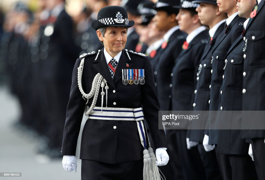 Metropolitan Police Commissioner Cressida Dick inspects police cadets at the Metropolitan Police Service Passing Out Parade in Hendon on November 3, 2017 in London, England.