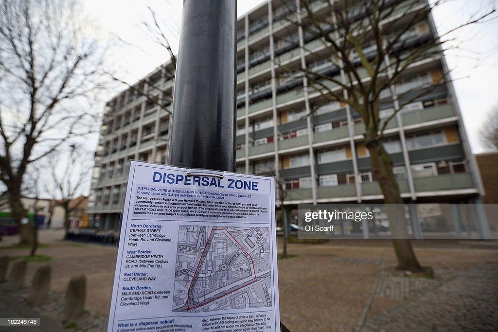A Metropolitan Police dispersal order is affixed to a lamppost outside a residential development in the London borough of Tower Hamlets on February 21, 2013 in London, England. A recent study has shown that 42 per cent of children in Tower Hamlets live in poverty, making it the worst area of the UK for child poverty. The research was carried out by the 'Campaign to End Child Poverty' who have produced a map describing levels of child poverty across the UK.