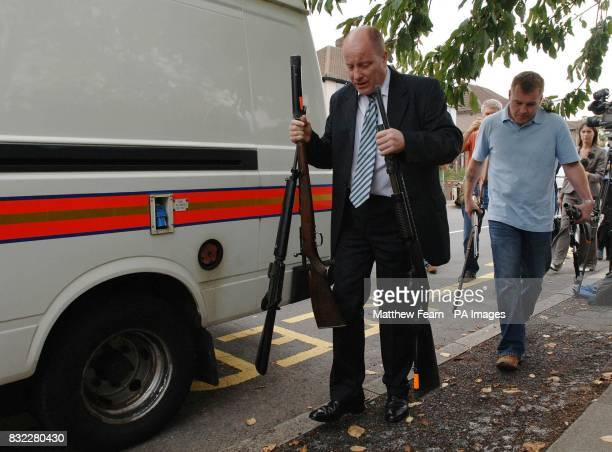 Metropolitan Police officers remove firearms from the home of a 55 year old man in Dartford Kent PRESS ASSOCIATION Photo Picture date Wednesday...