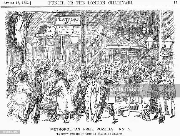 'Metropolitan Prize Puzzles No 7' 1883 An illustration of the problems caused by a plethora of clocks at Waterloo station all of which show a...