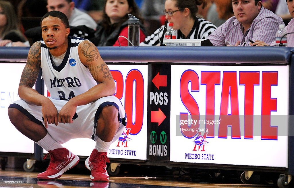 Metropolitan State University of Denver men's basketball team Demetrius Miller is waiting substitution of the player during the 1st half of the game against Fort Lewis College at Auraria Event Center. Miller is leading scorer of the team.