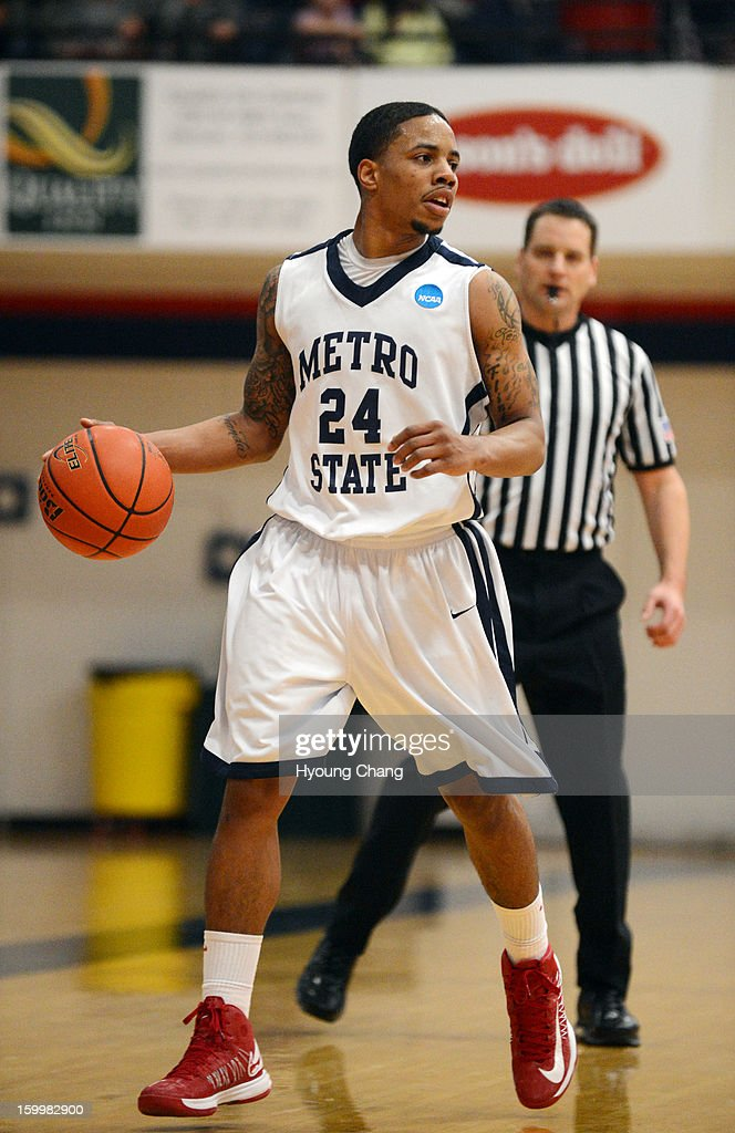 Metropolitan State University of Denver men's basketball team Demetrius Miller is in the 1st half of the game against Fort Lewis College at Auraria Event Center. Miller is leading scorer of the team.