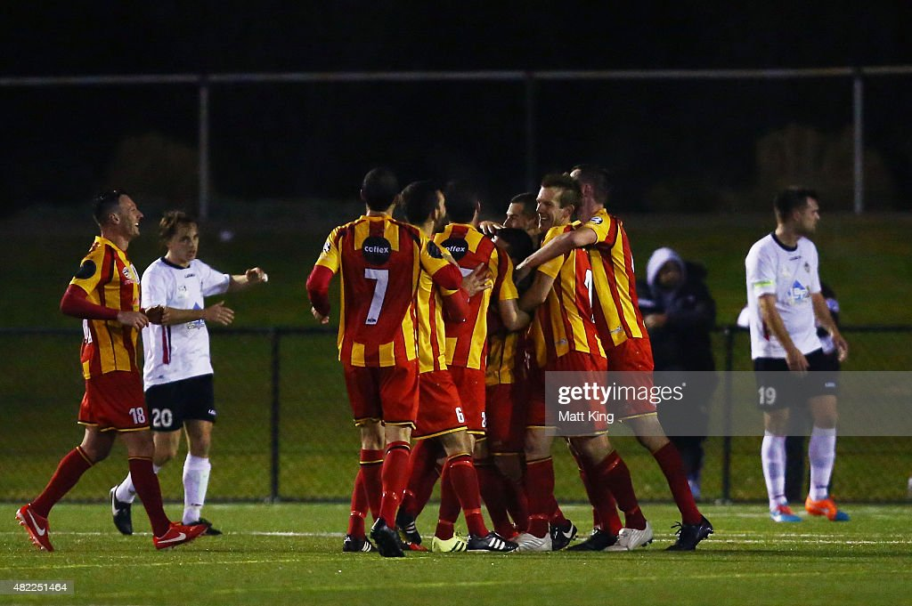 MetroStars FC players celebrate their second goal to Rocky Callisto during the FFA Cup match between Blacktown City FC and MetroStars FC at Lily's...