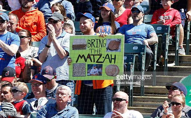 Mets fan holds a sign showing support for Mets picther Steven Matz in the fourth inning against the Cleveland Indians of the New York Mets at...