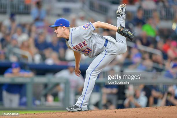 Mets relief pitcher Paul Sewald fires to the plate during a game between the Atlanta Braves and New York Mets on June 9 2017 at SunTrust Park in...