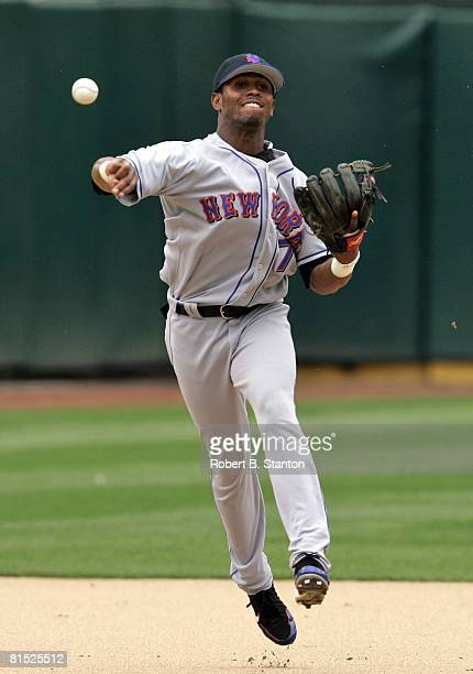 Mets shortstop Jose Reyes cranks one to first for an early inning out as the New York Mets defeated the Oakland Athletics by score of 9 to 6 at...