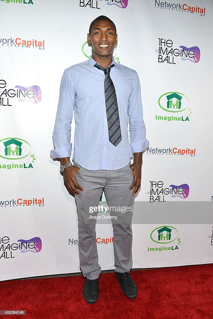 Metta World Peace arrives at The Imagine Ball held at House of Blues Sunset Strip on August 6, 2014 in West Hollywood, California.