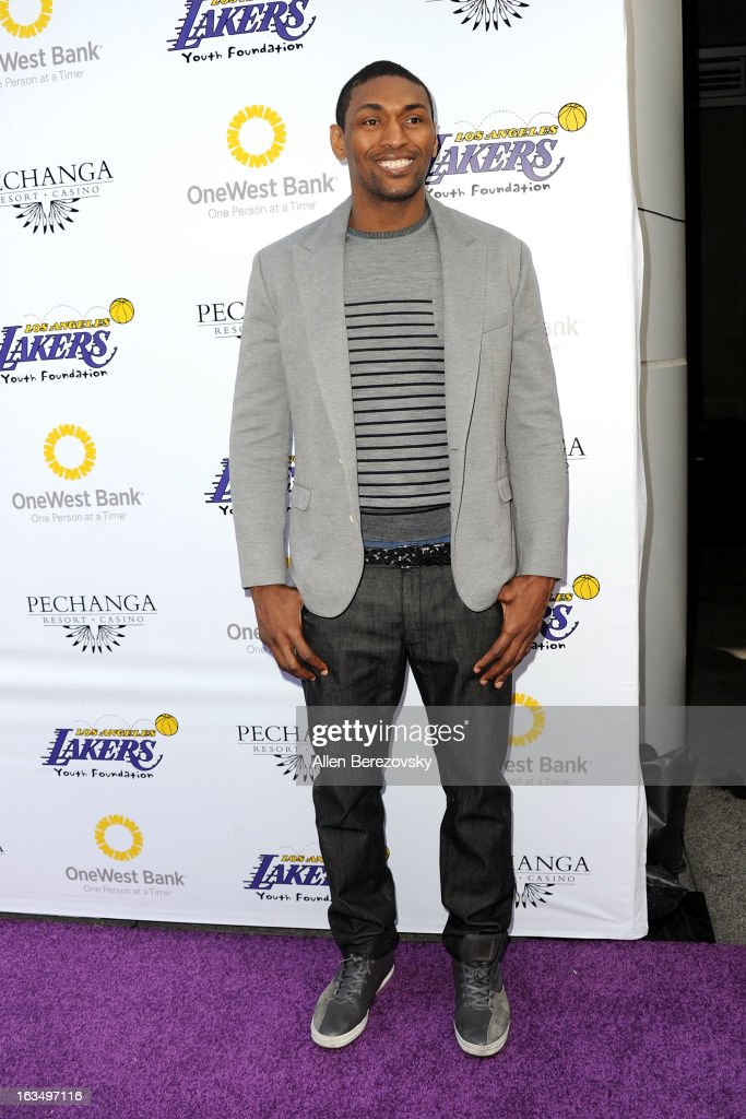 Metta World Peace attends the Lakers Casino Night fundraiser benefiting the Lakers Youth Foundation at Club Nokia on March 10, 2013 in Los Angeles, California.