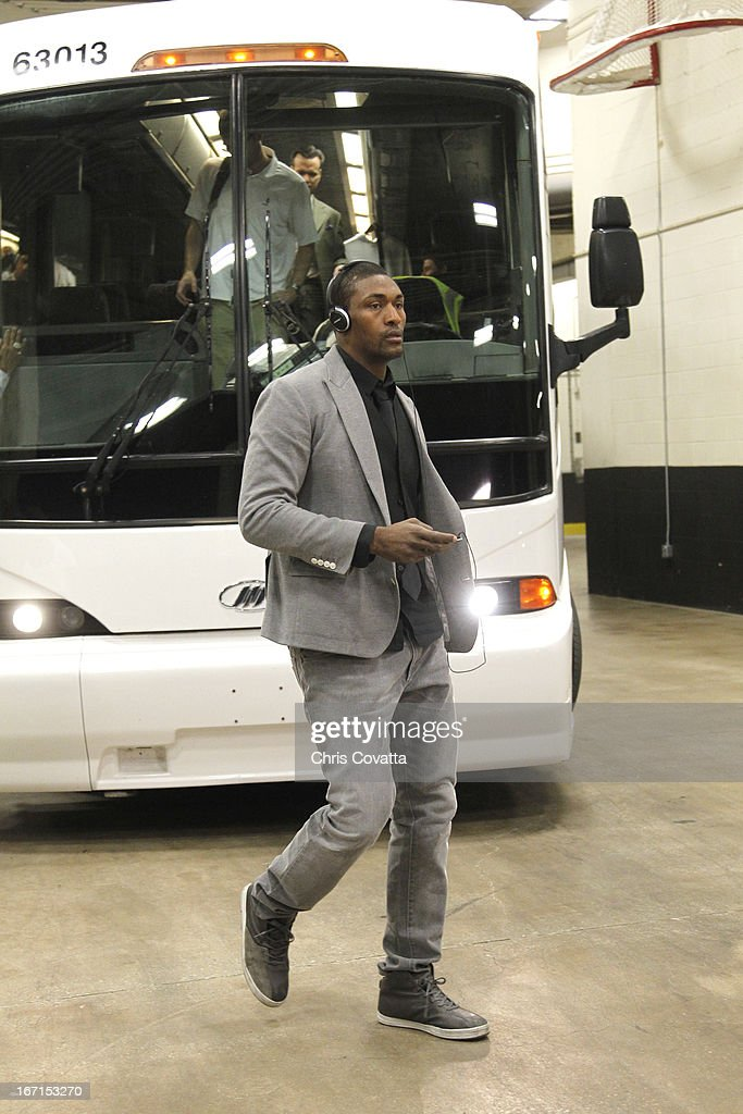 Metta World Peace #15 of the Los Angeles Lakers arrives for the Game One of the Western Conference Quarterfinals between the Los Angeles Lakers and the San Antonio Spurs on April 21, 2013 at the AT&T Center in San Antonio, Texas.