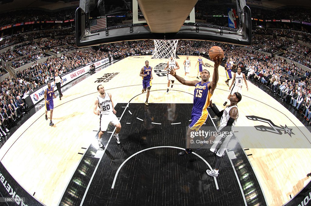 Metta World Peace #15 of the Los Angeles Lakers goes to the basket during the game between the Los Angeles Lakers and the San Antonio Spurs on January 9, 2013 at the AT&T Center in San Antonio, Texas.