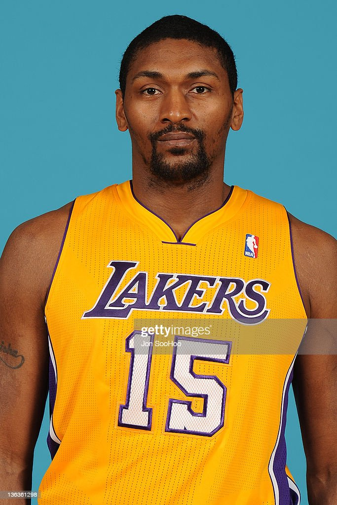 Metta World Peace #15 of the Los Angeles Lakers poses for a photo during Media Day at Toyota Sports Center on December 11, 2011 in El Segundo, California.