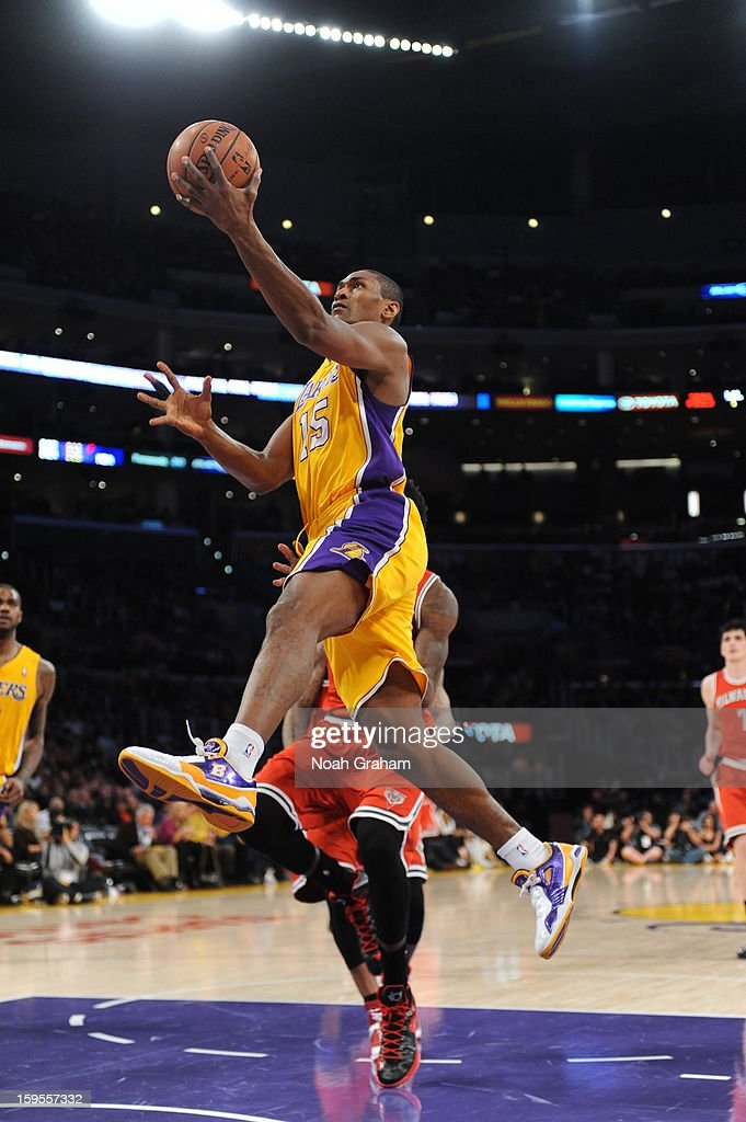Metta World Peace #15 of the Los Angeles Lakers rises for a shot against the Milwaukee Bucks at Staples Center on January 15, 2013 in Los Angeles, California.