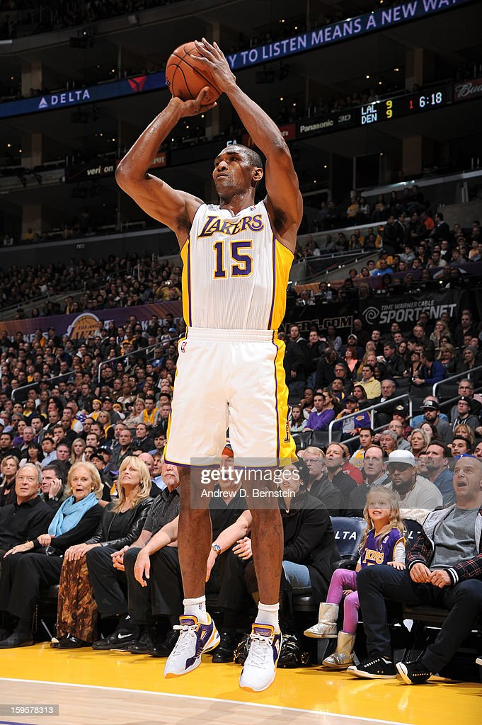 Metta World Peace #15 of the Los Angeles Lakers takes a shot against the Denver Nuggets at Staples Center on January 6, 2013 in Los Angeles, California.