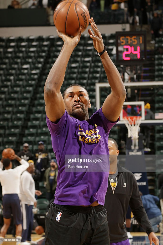 Metta World Peace #37 of the Los Angeles Lakers warms up before the game against the Indiana Pacers on February 8, 2016 at Bankers Life Fieldhouse in Indianapolis, Indiana.