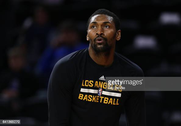 Metta World Peace of the Los Angeles Lakers warms up prior to the game against the Detroit Pistons at the Palace of Auburn Hills on February 8 2017...