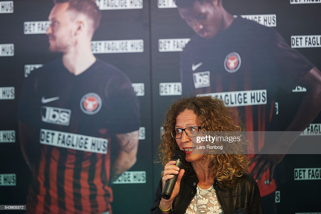 Mette Jul, head of communication of Det Faglige Hus presents new shirt prior to the Europa League Qualifier match between FC Midtjylland and FK Suduva at MCH Arena on June 30, 2016 in Herning, Denmark.